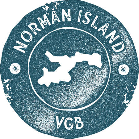 Norman Island map vintage stamp. Retro style handmade label, badge or element for travel souvenirs. Blue rubber stamp with island map silhouette. Vector illustration.
