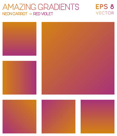 Colorful gradients in neon carrot, red violet color tones. Actual gradient background, wonderful vector illustration. Ilustrace