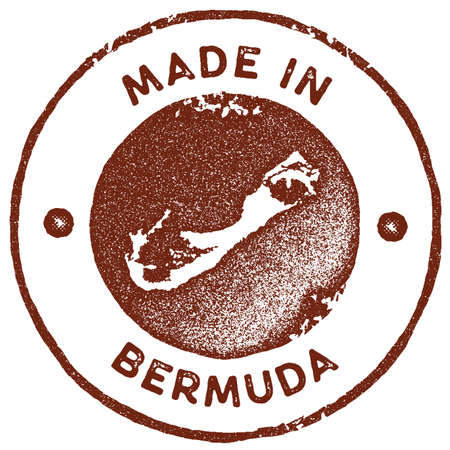 Bermuda map vintage stamp. Retro style handmade label, badge or element for travel souvenirs. Red rubber stamp with island map silhouette. Vector illustration.
