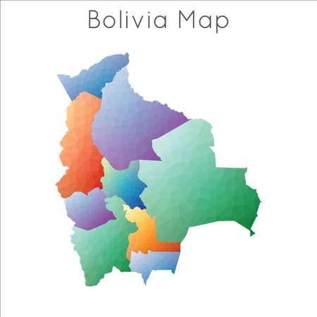 Low Poly map of Bolivia. Bolivia geometric polygonal, mosaic style map. 일러스트