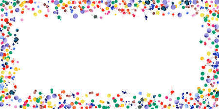Watercolor confetti on white background. Rainbow colored blobs wide frame. Colorful bright hand painted illustration. Happy celebration party background. Superb vector illustration.