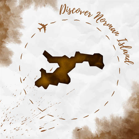 Norman Island watercolor island map in sepia colors. Discover Norman Island poster with airplane trace and handpainted watercolor map on crumpled paper. Vector illustration.