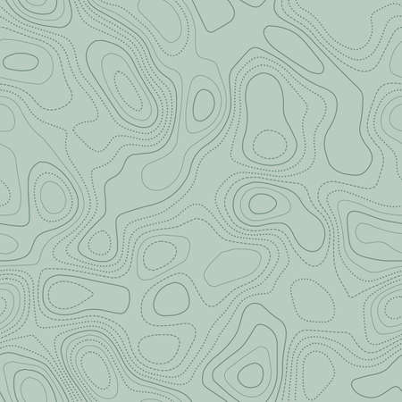 Topographic map. Actual topographic map in green tones, seamless design, divine tileable pattern. Vector illustration.