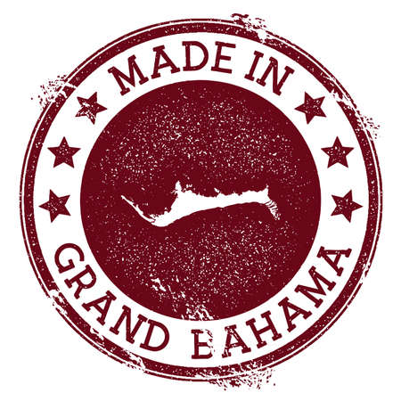 Made in Grand Bahama stamp. Grunge rubber stamp with Made in Grand Bahama text and island map. Neat vector illustration.