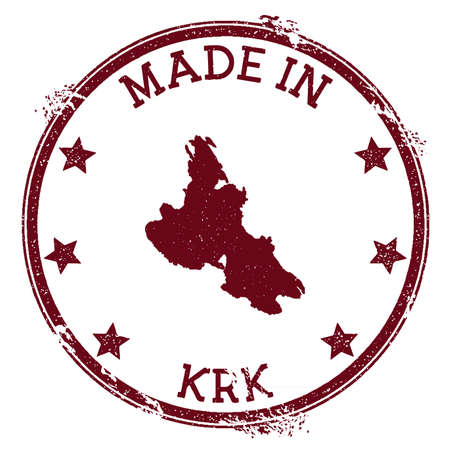 Made in Krk stamp. Grunge rubber stamp with Made in Krk text and island map. Decent vector illustration.