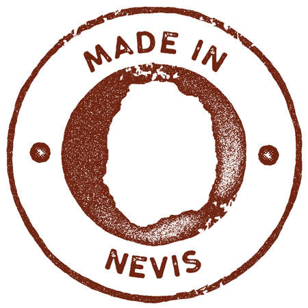 Nevis map vintage stamp. Retro style handmade label, badge or element for travel souvenirs. Red rubber stamp with island map silhouette. Vector illustration. Illustration
