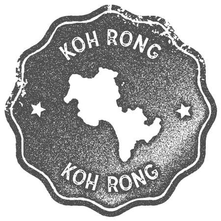 Koh Rong map vintage stamp. Retro style handmade label, badge or element for travel souvenirs. Grey rubber stamp with island map silhouette. Vector illustration.