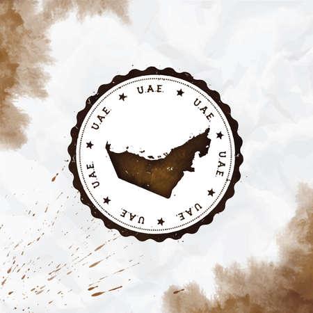 Sello de goma redondo acuarela de Emiratos Árabes Unidos con mapa del país. Sello de pasaporte de los Emiratos Árabes Unidos sepia con texto circular y estrellas, ilustración vectorial.