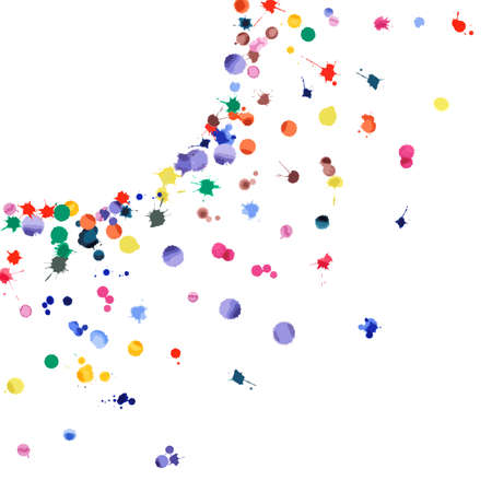 Watercolor confetti on white background. Rainbow colored blobs square corner. Colorful bright hand painted illustration. Happy celebration party background. Delicate vector illustration. Illustration