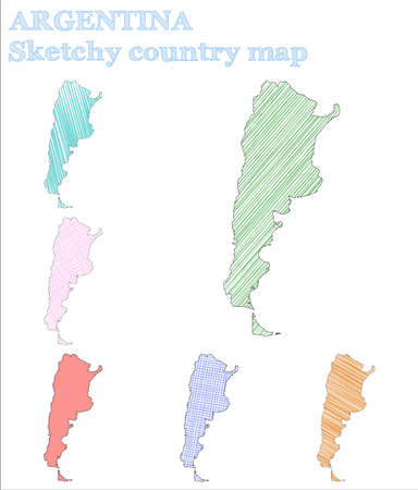 Argentina sketchy country. Alluring hand drawn country. Amazing childish style Argentina vector illustration.