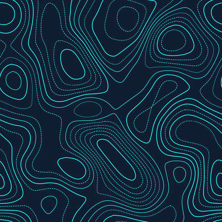 Contour lines. Actual topography map. Futuristic seamless design, shapely tileable isolines pattern. Vector illustration.