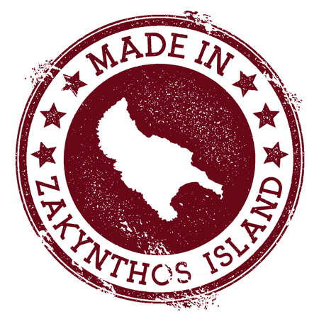 Made in Zakynthos Island stamp. Grunge rubber stamp with Made in Zakynthos Island text and island map. Positive vector illustration.