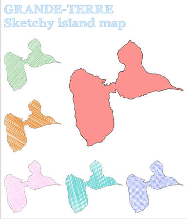 Grande-Terre sketchy island. Pleasing hand drawn island. Posh childish style Grande-Terre vector illustration. 일러스트