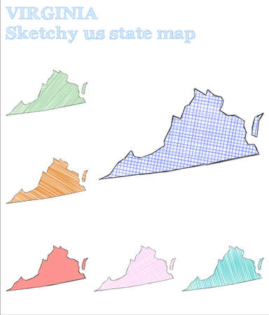 Virginia sketchy us state. Neat hand drawn us state. Shapely childish style Virginia vector illustration.