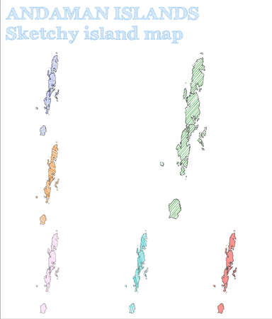 Andaman Islands sketchy island. Favorable hand drawn island. Fine childish style Andaman Islands vector illustration.