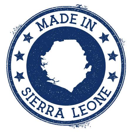 Made in Sierra Leone stamp. Grunge rubber stamp with Made in Sierra Leone text and country map. Dramatic vector illustration.