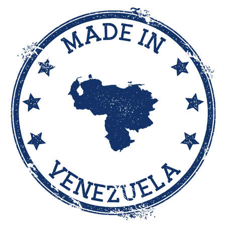 Made in Venezuela stamp. Grunge rubber stamp with Made in Venezuela text and country map. Pleasing vector illustration. Vectores