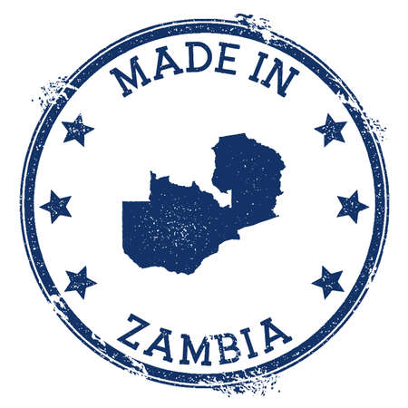 Made in Zambia stamp. Grunge rubber stamp with Made in Zambia text and country map. Ravishing vector illustration. Illustration