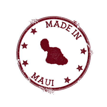 Made in Maui stamp. Grunge rubber stamp with Made in Maui text and island map. Magnetic vector illustration. 向量圖像