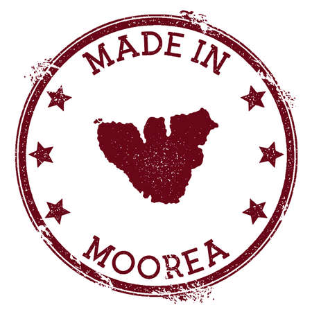 Made in Moorea stamp. Grunge rubber stamp with Made in Moorea text and island map. Noteworthy vector illustration.