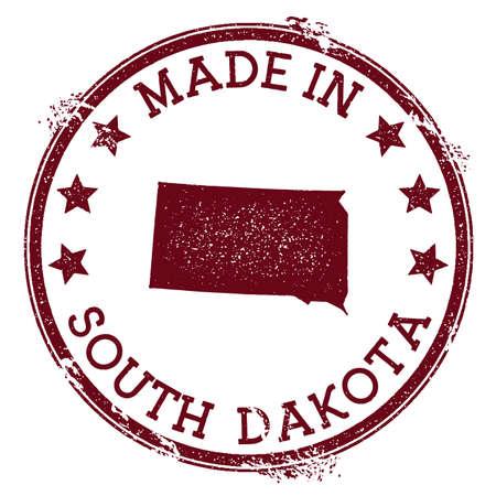 Made in South Dakota stamp. Grunge rubber stamp with Made in South Dakota text and us state map. Favorable vector illustration. Ilustrace