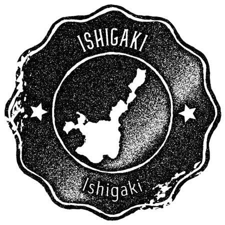 Ishigaki map vintage stamp. Retro style handmade label, badge or element for travel souvenirs. Black rubber stamp with island map silhouette. Vector illustration.