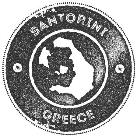 Santorini map vintage stamp. Retro style handmade label, badge or element for travel souvenirs. Dark grey rubber stamp with island map silhouette. Vector illustration.