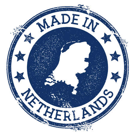 Made in Netherlands stamp. Grunge rubber stamp with Made in Netherlands text and country map. Sublime vector illustration.