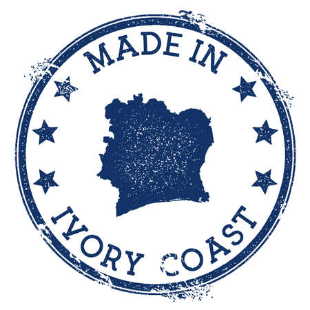 Made in Ivory Coast stamp. Grunge rubber stamp with Made in Ivory Coast text and country map. Ideal vector illustration.