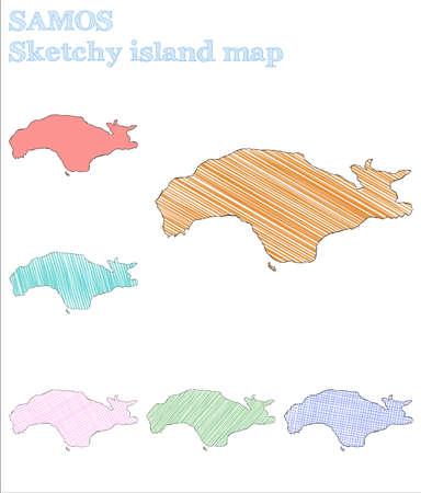 Samos sketchy island. Imaginative hand drawn island. Incredible childish style Samos vector illustration.