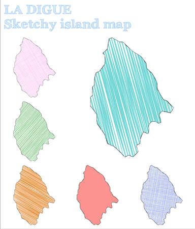 La Digue sketchy island. Admirable hand drawn island. Alluring childish style La Digue vector illustration.