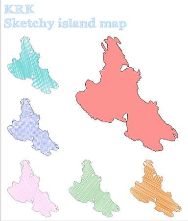 Krk sketchy island. Actual hand drawn island. Alive childish style Krk vector illustration.