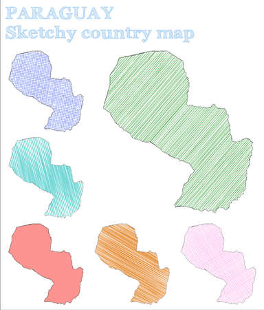 Paraguay sketchy country. Alluring hand drawn country. Amusing childish style Paraguay vector illustration.
