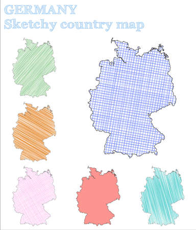 Germany sketchy country. Enchanting hand drawn country. Energetic childish style Germany vector illustration.