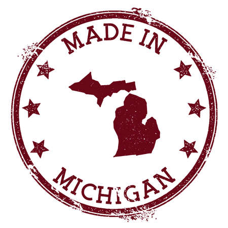Made in Michigan stamp. Grunge rubber stamp with Made in Michigan text and us state map. Beautiful vector illustration.