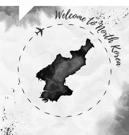 Watercolor map in black colors. Welcome to North Korea poster with airplane trace and handpainted watercolor map on crumpled paper. Vector illustration.