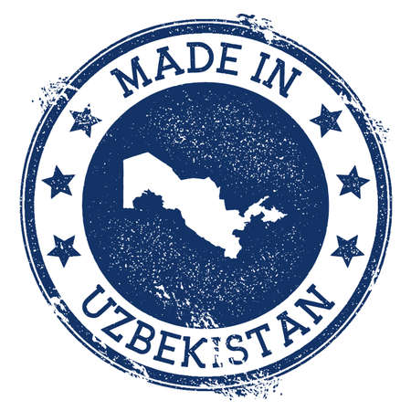 Made in Uzbekistan stamp. Grunge rubber stamp with Made in Uzbekistan text and country map. Overwhelming vector illustration. Illusztráció