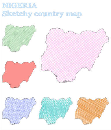 Nigeria sketchy country. Tempting hand drawn country. Terrific childish style Nigeria vector illustration.