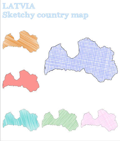 Latvia sketchy country. Precious hand drawn country. Pretty childish style Latvia vector illustration. Illustration