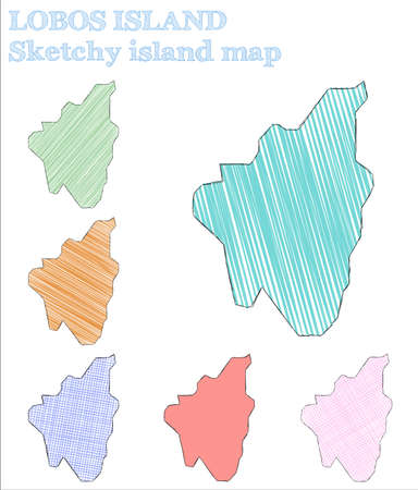 Lobos Island sketchy island. Awesome hand drawn island. Bewitching childish style Lobos Island vector illustration.