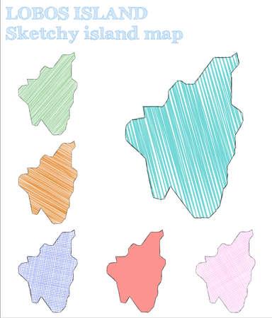 Lobos Island sketchy island. Awesome hand drawn island. Bewitching childish style Lobos Island vector illustration.