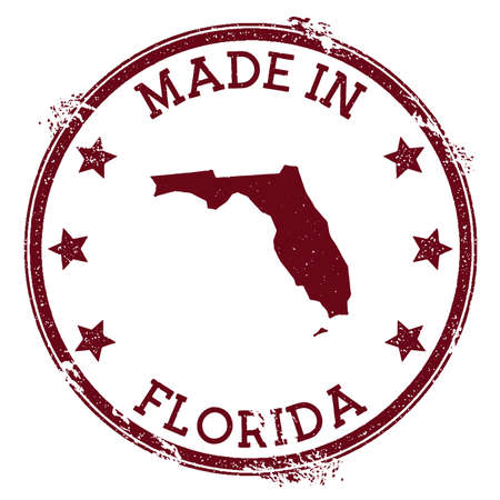 Made in Florida stamp. Grunge rubber stamp with Made in Florida text and us state map. Tempting vector illustration.