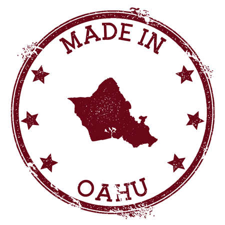 Made in Oahu stamp. Grunge rubber stamp with Made in Oahu text and island map. Rare vector illustration. 矢量图像