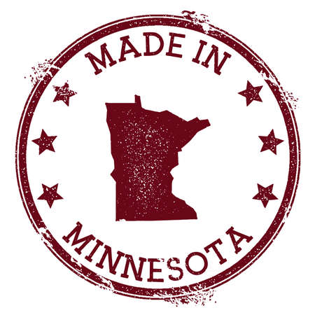 Made in Minnesota stamp. Grunge rubber stamp with Made in Minnesota text and us state map. Bizarre vector illustration.