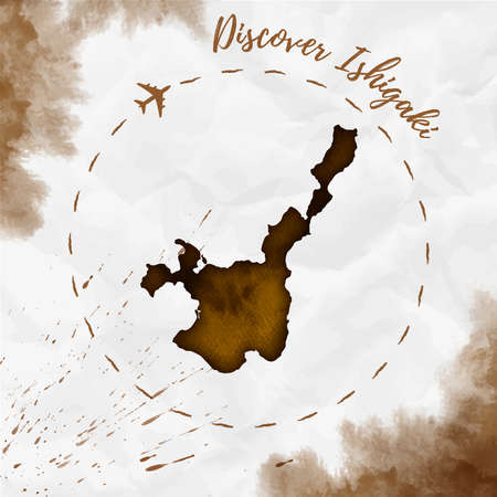 Ishigaki watercolor island map in sepia colors. Discover Ishigaki poster with airplane trace and handpainted watercolor Ishigaki map on crumpled paper. Vector illustration.  イラスト・ベクター素材