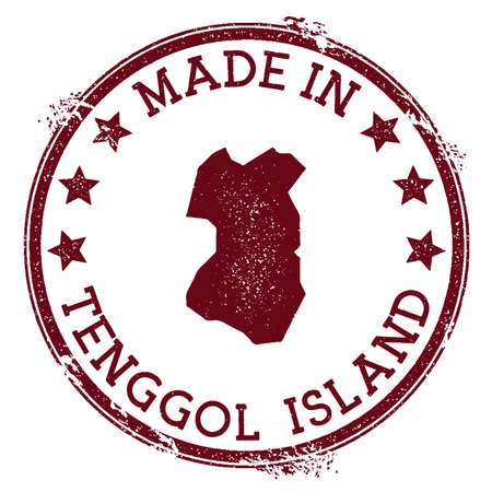 Made in Tenggol Island stamp. Grunge rubber stamp with Made in Tenggol Island text and island map. Magnificent vector illustration.  イラスト・ベクター素材