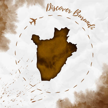 Burundi watercolor map in sepia colors. Discover Burundi poster with airplane trace and handpainted watercolor Burundi map on crumpled paper. Vector illustration. Illustration