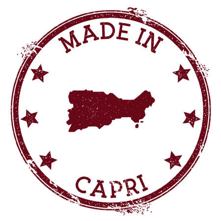 Made in Capri stamp. Grunge rubber stamp with Made in Capri text and island map. Enchanting vector illustration.