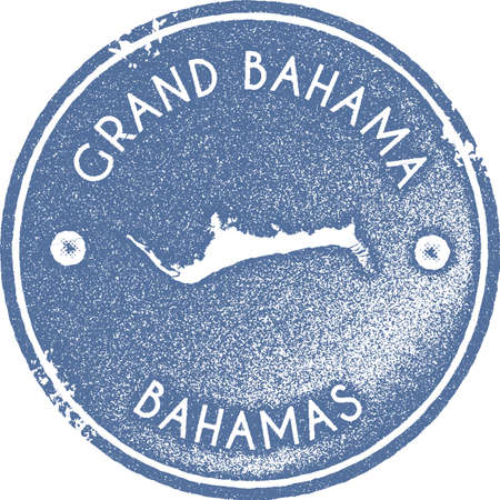 Grand Bahama map vintage stamp. Retro style handmade label, badge or element for travel souvenirs. Light blue rubber stamp with island map silhouette. Vector illustration.
