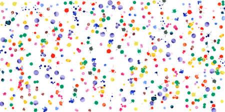 Aquarel confetti op witte achtergrond. Regenboogkleurige klodders brede vallende regen. Kleurrijke brechterhand geschilderde illustratie. Gelukkige viering partij achtergrond. Welgevormde vectorillustratie. Vector Illustratie